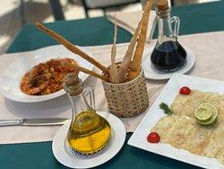 Delicious Fish Carpaccio and Seafood pasta