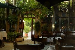 The shady terrace of the restaurant where, on my first day, I had an ayran.