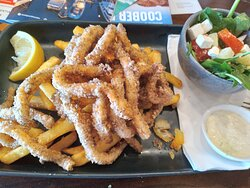 Salt and pepper squid etc., Fumo 28 Oyster Bar & Seafood, Port Lincoln, SA