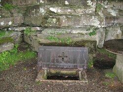 Husaby, SSiegfried's Well outside Husaby Church (St Sigfrids källa) where Saint Siegfried is said to have baptised King Olof Skötkonung, who died in 1022 in  Husaby  Sigfrids källa vid Husaby kyrka