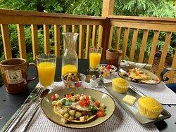 Breakfast prepared by Richard and Theresa