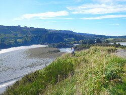Vista from the RAKAIA GORGE LOOKOUT with only the Arch Bridge noticeable. MT HUTT LODGE on the far shoreline.