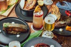 Pulpo a la brasas, salmon, cerveza tulum