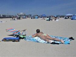 Sunbathing on Hampton Beach in June, 2021