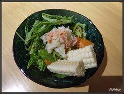 沙律,松葉蟹粟米沙律,用上日本生粟米和日本水菜,加入松葉蟹肉絲,蟹肉絲新鮮,都幾彈口,配上自家調製沙律汁,醬汁味道甜甜酸酸都開胃。日本生粟米,多汁又清甜,非常潤喉。