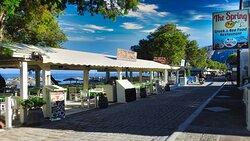 Beach restaurant in Kamari village in Santorini island Greece