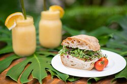 Turkey sandwich on fresh-baked bread with microgreens from our farm.