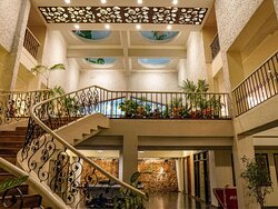 The Lobby features beautifully painted domes, a grand staircase and has a lower lobby with indoor games such a pool, table tennis, carrom and a gymnasium
