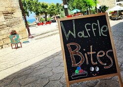 Waffle bites in the hot spot of Afytos square!