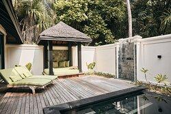JA Manafaru I  Deluxe Beach Villa Family Pool and walled Garden Courtyard.