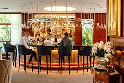 The iconic circular Haffner Bar is the heart of the hotel, with delicious drinks on the menu