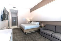 Accessible unit/ Pet rooms come with a King bed and pull out couch.