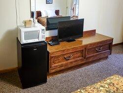 Microwave, Mini-fridge, TV & Dresser