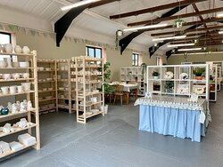 Light, bright, airy, socially distanced space with lots of pottery to choose to paint
