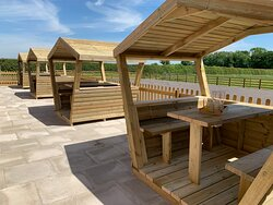 Outdoor seating pods available to enjoy refreshments overlooking the glorious vale of Belvoir