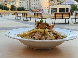 New on the menu of Deek Duke Restaurant: Fettuccine with fresh mushrooms in creamy sauce.