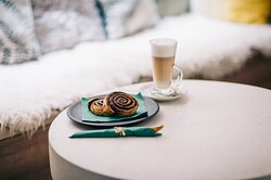 Gluten free and vegan pastry menu with coffee