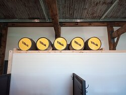Some of the distillery barrels which make up the beautiful barn styly decor.
