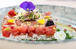 Fresh tuna tartar on sour rice by our chef
