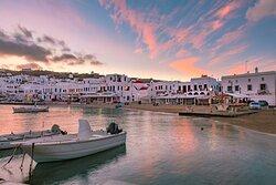 Sunset over the port on Mykonos