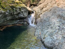 Gria Vathra canyon, crystal clear waters.