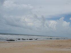 extensive sandy beach