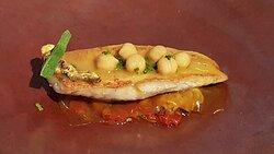 Rouget grillé, moelle, violet : anchois cantabrique. maquereau au sel | riquette.  condiment nõras.  Voile de bouillabaisse