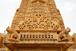 """Close up view Top most of the temple .....,seamless patterns, geographic & gematrical patterns combinations , everywhere seen superb carvings on sandstone, beautifully crafted sculptures and fantastic carved domes. The all side walls carry the intricate Jali or lattice work in stone in very large scale with different seamless patterns combination..... """"Amar Sagar Jain Temple"""" ,Jaisalmer, Rajasthan , India . It is located adjacent to the Amar Sagar Lake and south of Lodurva,"""