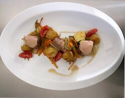 Pork fillet with baby potatoes, vegetables tagliatelle, sauce Dijon with arbaroriza