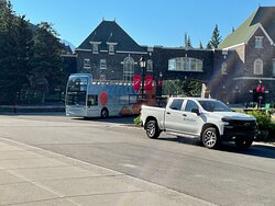 Arrival at the Banff Springs Hotel stop