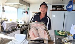 Magnificent food including fresh Barra YOU caught a few moments ago. It's FRESH!!