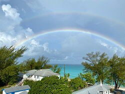 A double rainbow seen from the Dolphin House Museum rooftop.