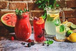 Homemade lemonade Flavours: lemon and rhubarb-watermelon