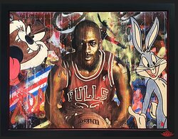 Space Jam artwork by artist Rob Bishop, available at The Acorn Gallery, Pocklington, Nr York. Delivery available.