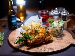Poussin with roasted curry, cabbage and cabbage salad