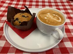 Coffee and fresh baked goods.