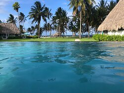 View out to the sea from the Infinity Pool. The Suites are located behind the pool so the view is a bit far away.