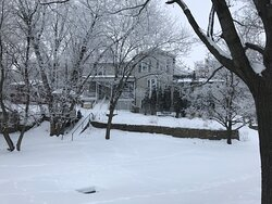 """Snowy Winter - Avery Guest House """"back"""" of house facing the river"""