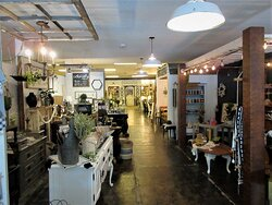 Primitiques: variety of  furnishings & home goods. Hitching Post (in the far back) is rented  for bridal parties, baby showers, and other events. May 2021