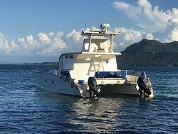 Pour les sorties sur les île sans oublier les cannes à pêche ...., notre catamaran est idéal avec ses quatre cabines, wc, douche, cuisine etc...