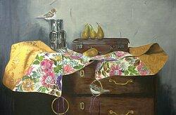Carol Davison's still life painting in the gallery.