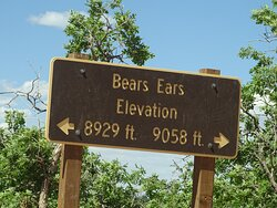 Elevation signs in between the two buttes