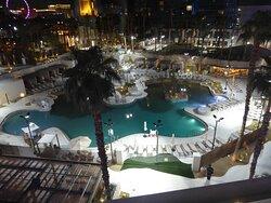 Virgin Hotel Las Vegas pool at night.