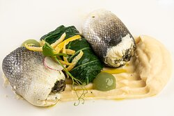 Sea bass stuffed