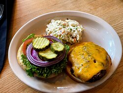 classic burger done just right, and wonderful coleslaw