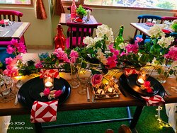 Peacock Feathers and Bougainvelia flowers Romantic Lunch