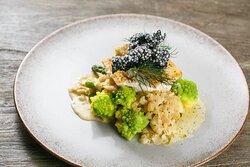 Zander fillet with shrimps, butter blanched vegetables, mild leeks, champagne sauce