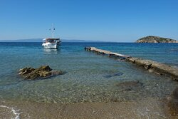 A lovely 15 minute boat trip to this beautiful little island which was once said The Beatles wanted to buy. Well worth a walk to the little church, it's a little gem with views back across the sea to Skiathos.