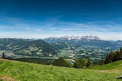 View from Hahnenkamm to Wilder Kaiser