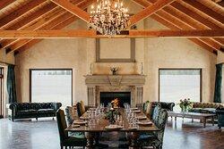 Moraien Lodge with roaring fire